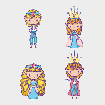 Princess and princess cartoon vector illustration graphic pastel colors , Sweet and Cute