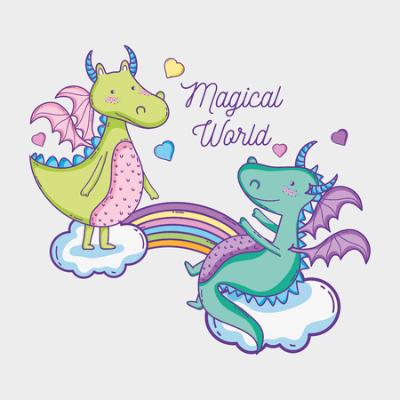 Dragons in magical world vector illustration graphic pastel colors , Sweet and Cute Foto de archivo - 95398919