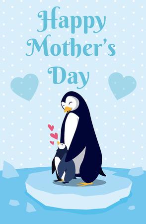 Happy mothers day penguin cartoon icon vector illustration graphic design