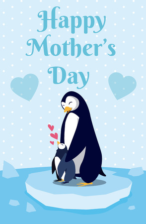 Happy mothers day penguin cartoon icon vector illustration graphic design