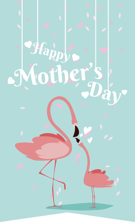 Happy mothers day flamingo cartoon icon vector illustration graphic design 矢量图像