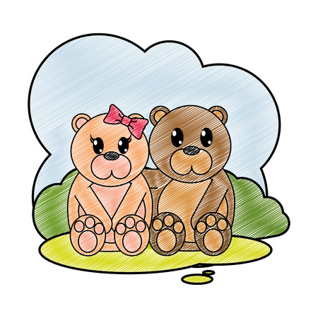 grated bear couple cute animal in the landscape vector illustration