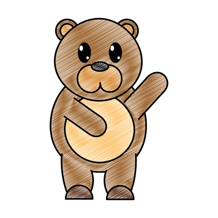 grated adorable bear wild animal with hand up vector illustration