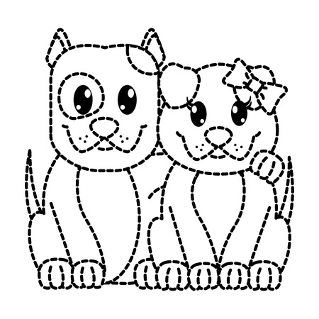 dotted shape couple dog cute animal together Illustration