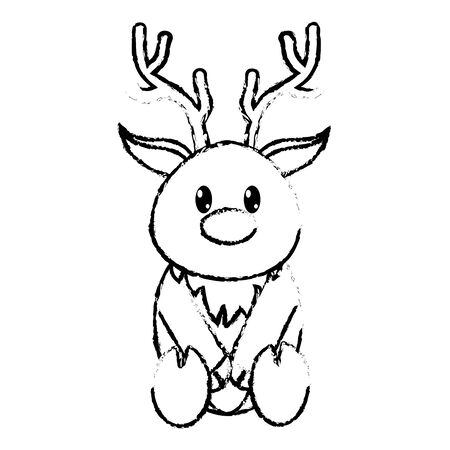 grunge reindeer cute wild animal character vector illustration