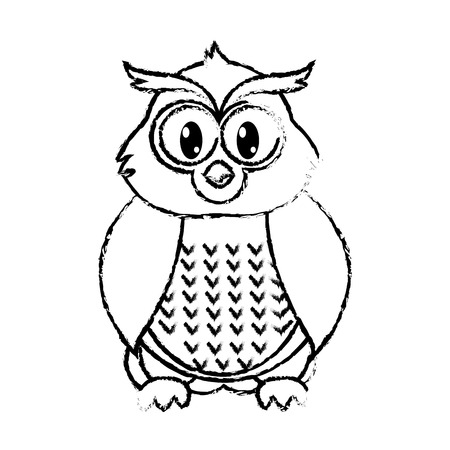 grunge owl cute wild animal character Illustration
