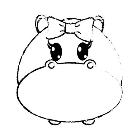 grunge female hippopotamus head cute animal vector illustration