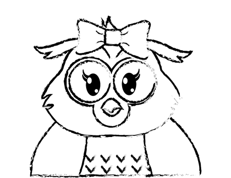 grunge adorable female owl cute animal vector illustration Illustration