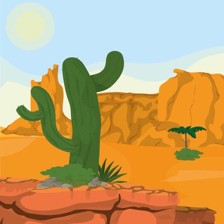 Desert landscape cartoon icon vector illustration graphic design