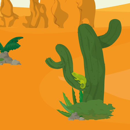 Desert landscape cartoon icon vector illustration graphic design