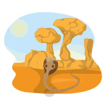 Cobra in the desert icon vector illustration graphic design