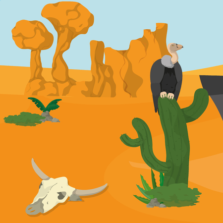 Vultures on desert vector illustration graphic design Illustration