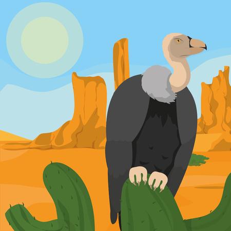 Vulture on desert vector illustration graphic design
