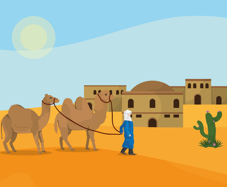 Arab Desert town vector illustration graphic design