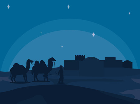 Arab town at night vector illustration graphic design Vectores