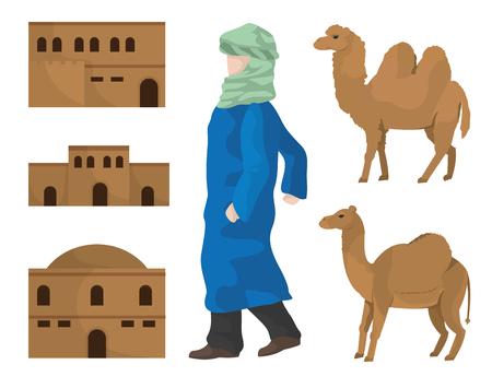 De kamelen van woestijnhuizen en Arabisch vectorillustratie grafisch ontwerp