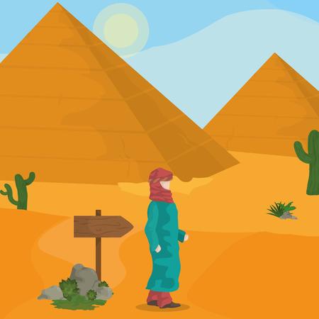Egyptian pyramids on desert vector illustration graphic design