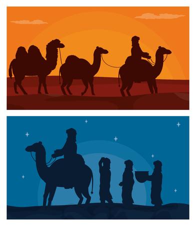 Arab with camels on desert vector illustration graphic design