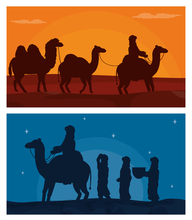 Arab with camels on desert vector illustration graphic design