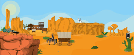 Western town on desert with cowboy on horse vector illustration graphic design Illustration