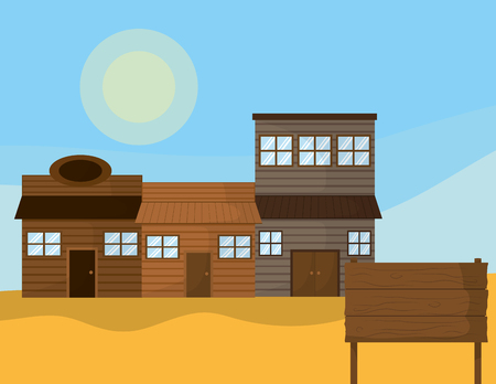 Western town with wooden houses vector illustration graphic design Illustration