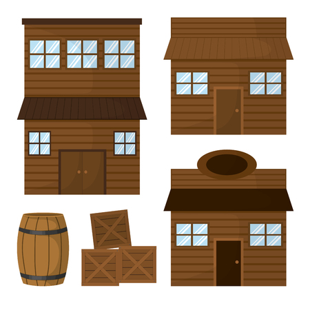 Wooden houses and shop vector illustration graphic design