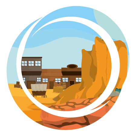 Western village with round abstract symbol vector illustration graphic design