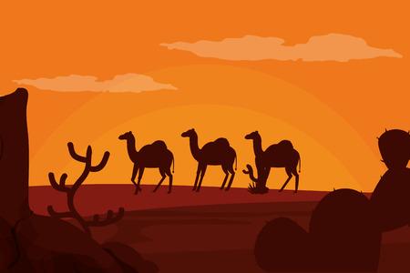 Camels walking on desert silhouette vector illustration graphic design