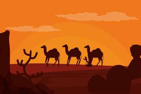 Camels walking on desert silhouette vector illustration graphic design