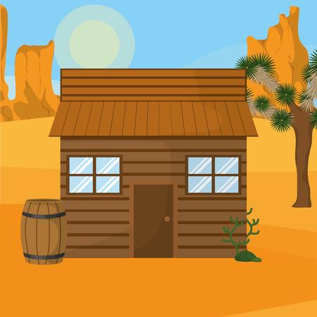 Western shop on desert vector illustration graphic design