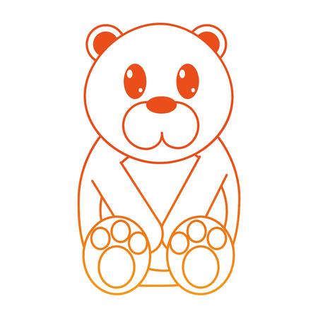 orange line bear cute wild animal character