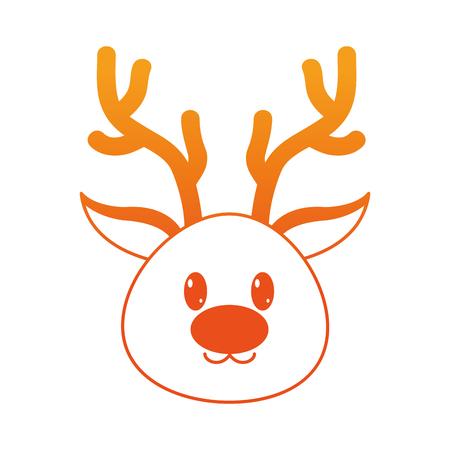 orange line reindeer head cute animal character