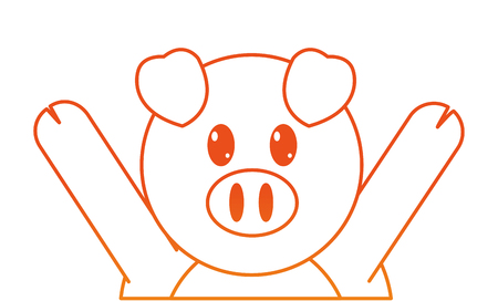 orange line pig cute animal with hands up vector illustration