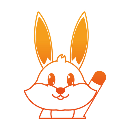 orange line adorable rabbit cute animal character vector illustration Illustration