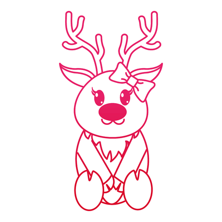 fucsia line female reindeer cute animal with ribbon bow vector illustration 일러스트