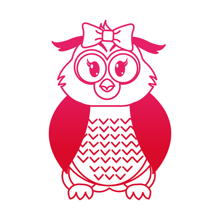 fucsia line female owl cute animal with ribbon bow vector illustration Illustration