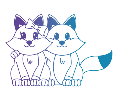blue line fox couple cute animal together vector illustration