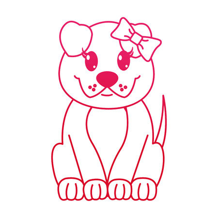 fucsia line female dog cute animal with ribbon bow vector illustration