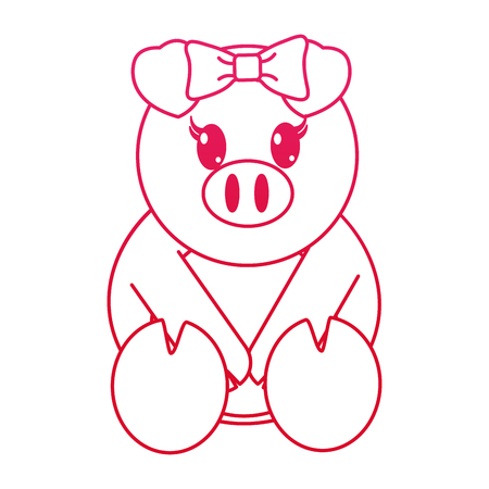 fucsia line female pig cute animal with ribbon bow vector illustration 일러스트