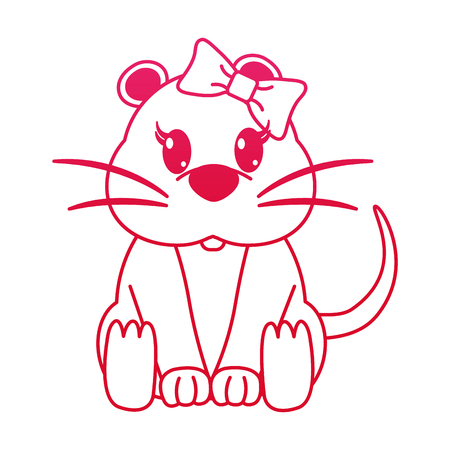 fucsia line female mouse cute animal with ribbon bow vector illustration 일러스트