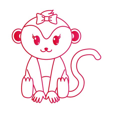fucsia line female monkey cute animal with ribbon bow vector illustration