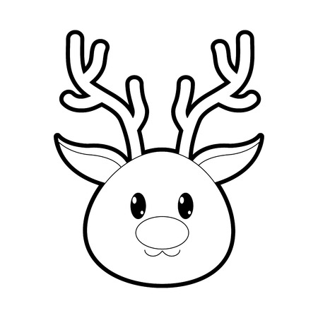 outline reindeer head cute animal character vector illustration
