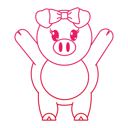 fucsia line adorable female pig animal with hands up vector illustration