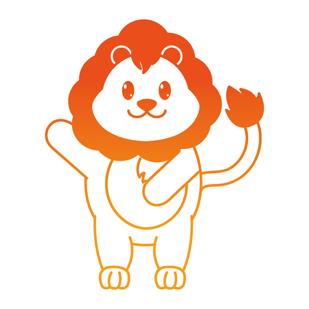 orange line adorable lion wild animal with hand up Illustration