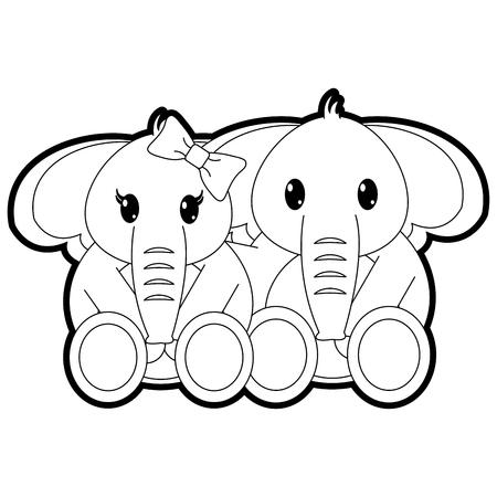 outline couple elephant cute animal together