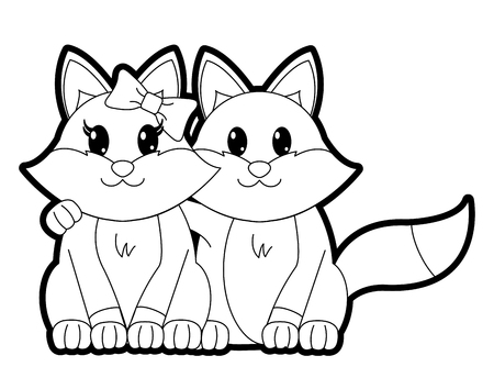 outline fox couple cute animal together