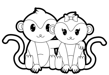outline monkey couple cute animal together Illustration