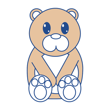 line color bear cute wild animal character Illustration