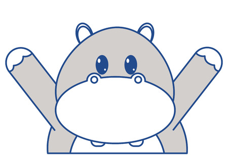 line color hippopotamus cute animal with hands up Illustration