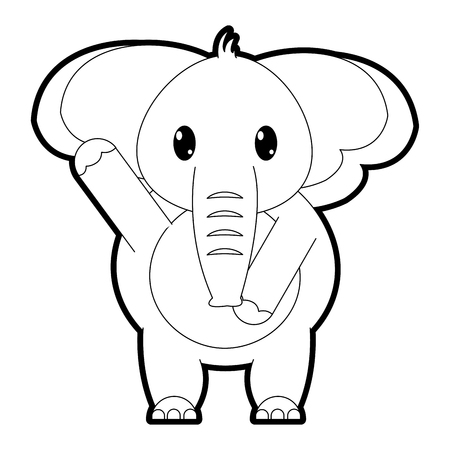 outline adorable elephant wild animal with hand up